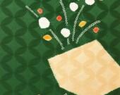 Sandy Ume on Forest Green - Silk Kimono Shibori Fabric Yardage