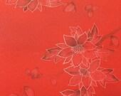 Watercolor Flowers on Papaya - Silk Kimono Fabric Yardage