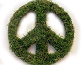 Oregon Green Moss peace symbol wreath