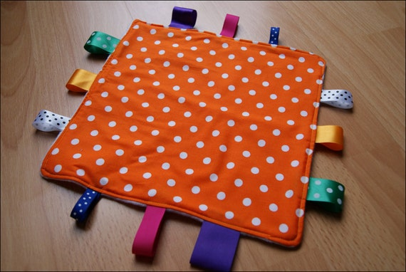 Orange and White Spot Baby Tag Blanket 'Taggy'