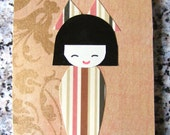 Kokeshi collage notepad