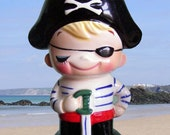 Vintage 1970's Cute Pirate Ceramic Moneybox or Bank
