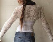 white shrug / shrug Ivory tweed cotton long sleeved slim fitting shrug  LTD EDition