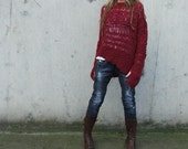 Red sweater Garnet red oversized grunge sweater LAST ONE in this shade