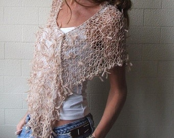 women's poncho beige ribbon poncho  Neutral summer poncho shawl wrap, wedding bridesmaid poncho