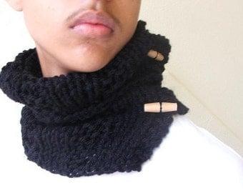 Unisex Black collar / cowl / circular /scarf