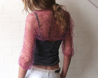 pink shrug, blush pink summer loose weave shrug, women's shrug