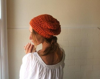 Orange Beanie hat orange chunky hat