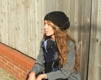 Black Hat beanie Chunkier vegan friendly floppy knit hat