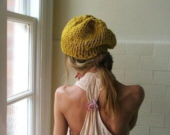 Yellow hat, yellow knit hat, Mustard Yellow beanie hand knit hat, mustard yellow slouchy hat ,  Yellow Chunkier knit hat READY TO SHIP
