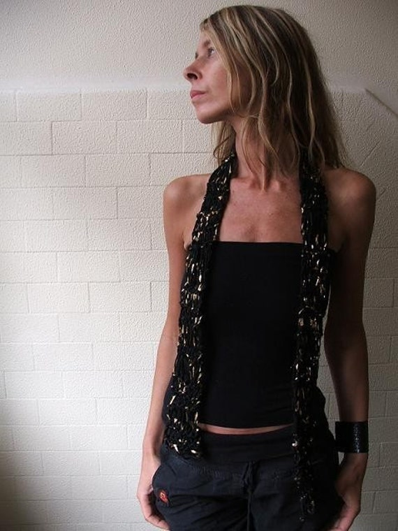 Black and Gold skinny drop stitch, loose knit scarf