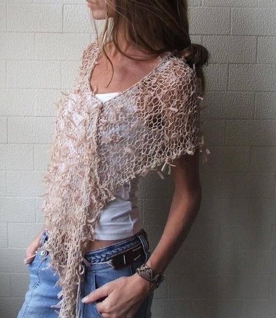 Poncho / Nude Ribbon loose knit Poncho