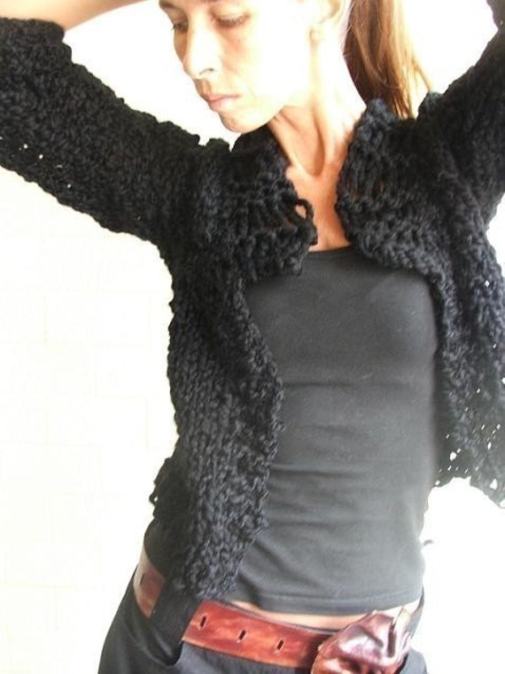 RESERVED For Sandy  A moment 2 myself  black chunky cardigan 1 - 2 left in this yarn/shade.