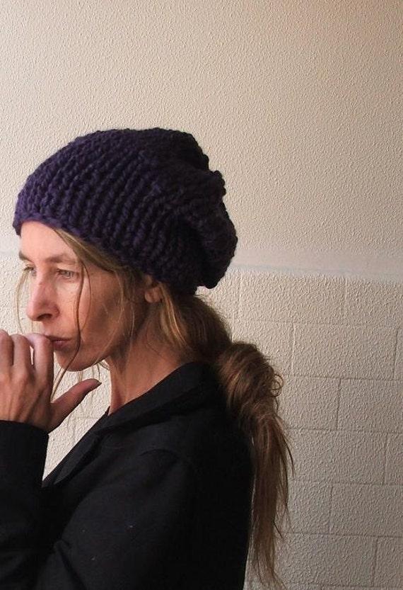 purple hat Deep purple chunky hand knit hat