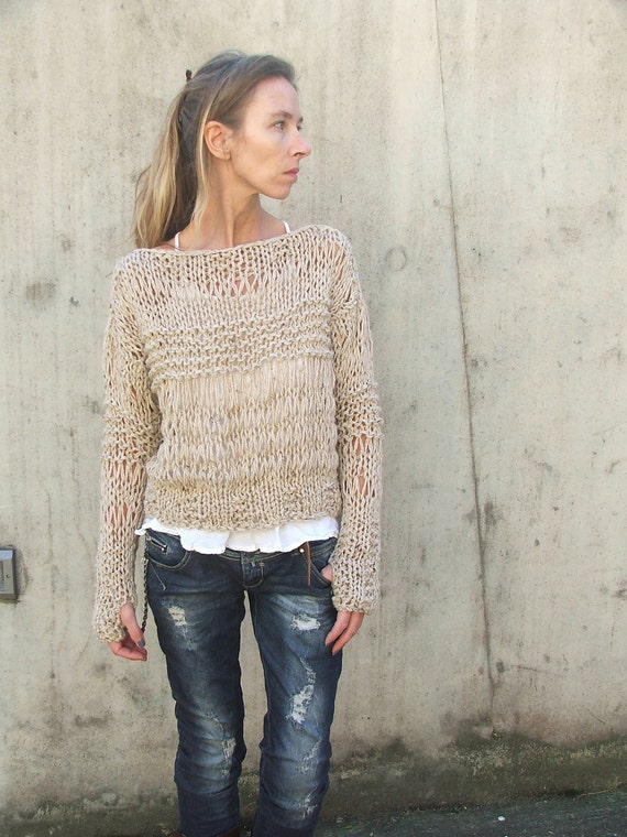 RESERVED for AMANDA / Grunge sweater / Fawn Alpaca mix / loose knit / Grunge sweater