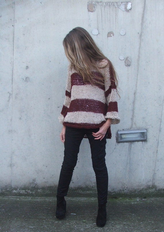 fawn and deep berry red striped alpaca mix light weight sweater LAST ONE