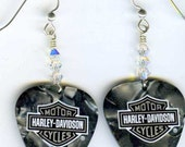 Harley Davidson guitar pick earrings. Swarovski crystal beads and Sterling Silver wires
