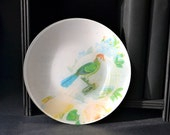 Victorian Scrap Bird Decoupage Plate - cream white bright blue green red peach - InsituDecorativeArts