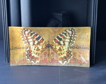 Oriental Butterfly Decoupage Plate - brown red gold golden pattern glass