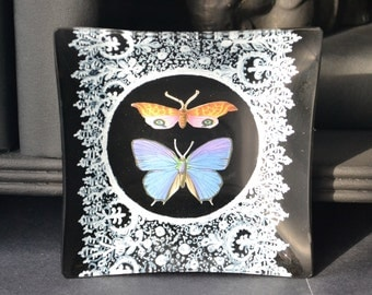 Mid Century Blackboard Lace Butterfly Glass Tray - Decoupage Plate black white orange periwinkie blue wings