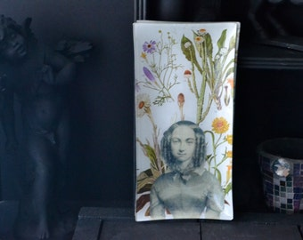 Rose Cherie Botanical Decoupage Glass Tray - victorian french portrait wall tabletop decor bright clean white green orange flower