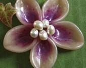 Reserved -Bright Purple Flower Hair Barrette