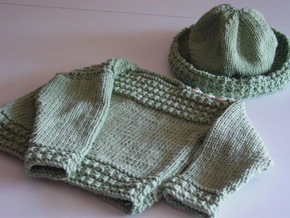 Hand Knitted Child's Sweater and Wide Brimmed Hat - 1 yr