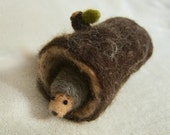 Needle Felted Hedgehog and Log - Waldorf Inspired