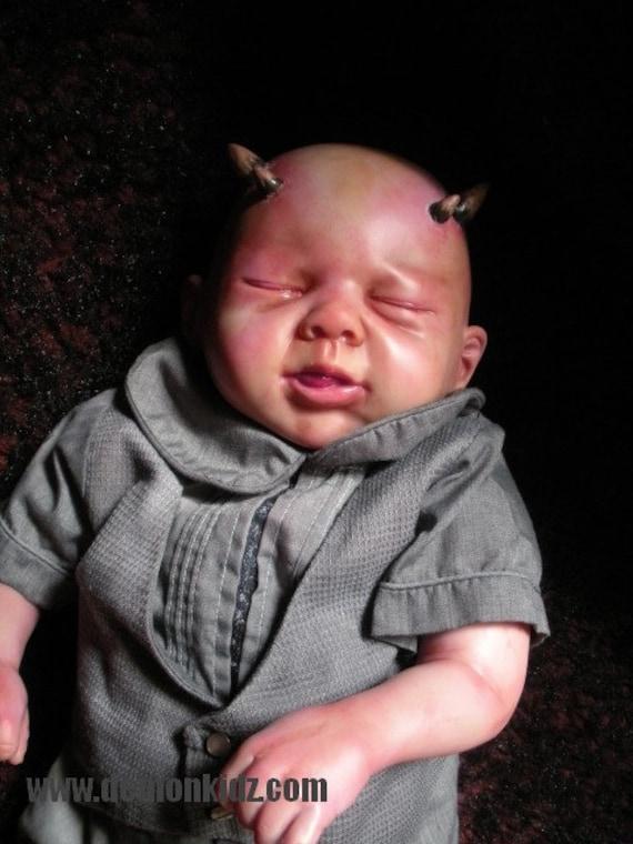 OOAK Custom reborn Demon Baby Doll Soft Body Posable