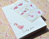 Baby Birds Personalized Stationery Cards and Sticker Gift Set