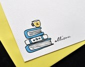 Stack of Books Personalized Stationery Notecards and Sticker Gift Set