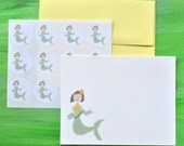 Mermaid Thank You Cards or Personalized Stationery plus Stickers Set