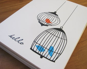 Orange and Blue Birdcage Notecard or Personalized Stationery and Sticker Set