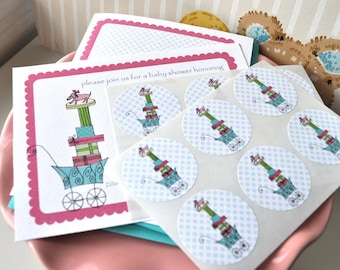 Buggy Baby Shower Personalized Invitation and Sticker Set