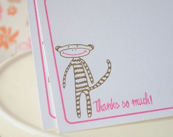 Little Monkey Thank You Note or Personalized Stationery and Sticker Gift Set