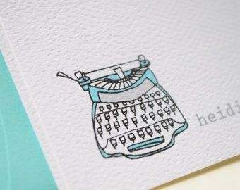 Vintage Typewriter Personalized Stationery Cards and Sticker Gift Set
