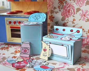 Mini-Play Toy Paper Kitchen PDF Printable Pattern