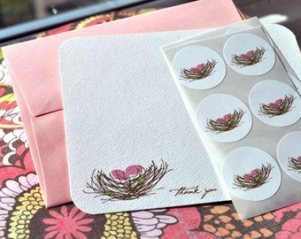 Bird Nests with Pink Eggs Thank You Card or Personalized Stationery Gift Set