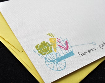 Garden Lover Personalized Stationery Notecard Set with Stickers