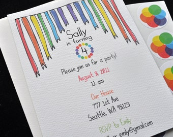 Rainbow Theme Personalized Custom Birthday Party Invitation Cards Set with Stickers