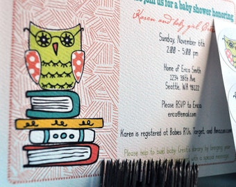 Owl on Books Custom Baby Story Shower Invitations Plus Sticker Set