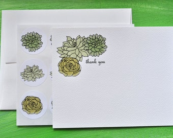 Succulent Thank You Notes or Personalized Stationery and Sticker Set