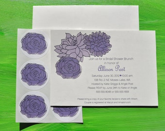 Succulent Bridal Shower Custom Invitation Set with Stickers in Purple