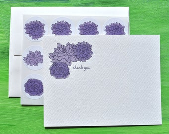 Succulent Thank You Notes or Personalized Stationery and Sticker Set in Purple