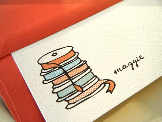 Stack of Ribbon Personalized Stationery and Sticker Set