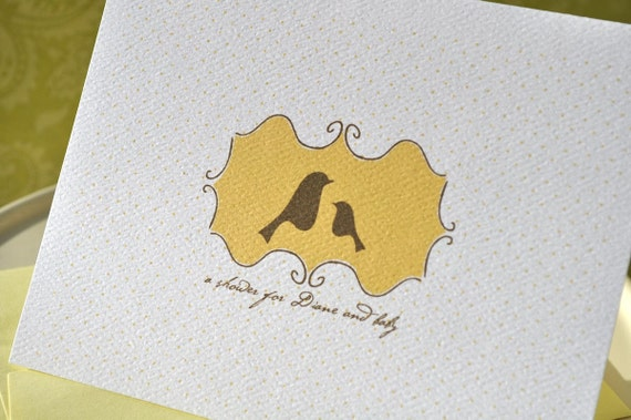 Mama and Baby Bird Custom Baby Shower Invitation Yellow