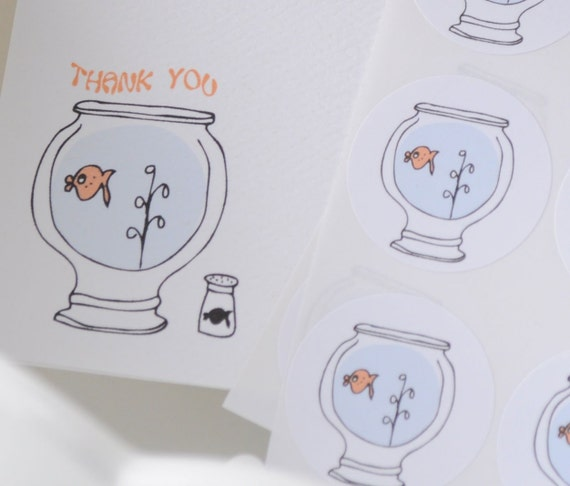 Little Fishy Thank You Notecard or Personalized Stationery and Sticker Gift Set