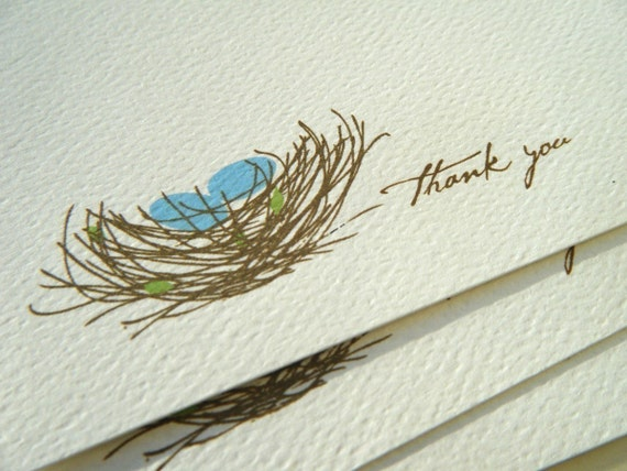 Little Bird Nest with eggs Thank You Note or Personalized Stationery and Sticker Gift Set