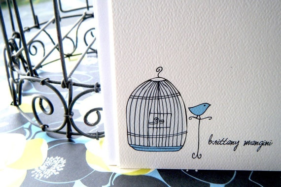 Uncaged Bird Personalized Stationery Cards and Sticker Gift Set