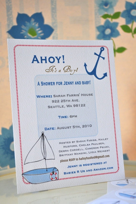 nautical theme sailboat baby shower invitation set with stickers for